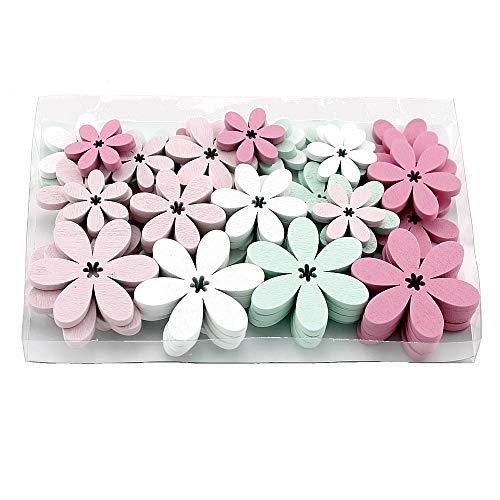 TGG Lot de 48 Fleurs d'épandage Plates, Blanc/Rose/Menthe, 5,5/4/3 cm, boîte Transparente