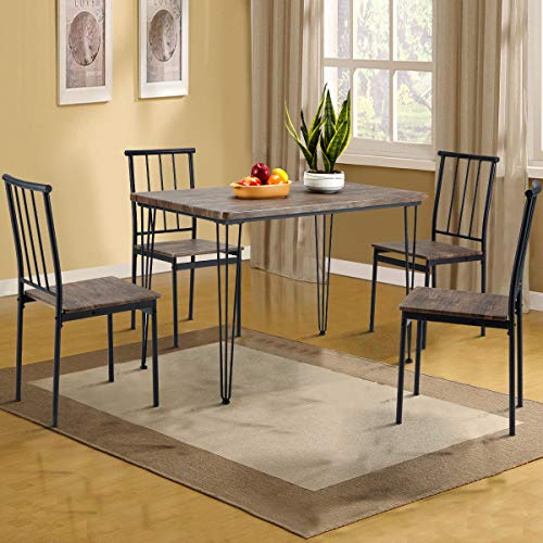 MELLCOM 5-Piece Dining Table Set with 4 Benches Modern Compact Iron Frame MDF Board, PVC Chairs Set for Home, Bar, Kitchen 4 Person Grey Brown