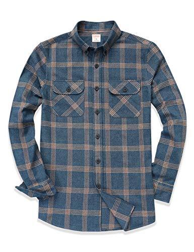 Dubinik® Camisa de franela a cuadros para hombre, manga larga, corte regular, para tiempo libre azul XXL