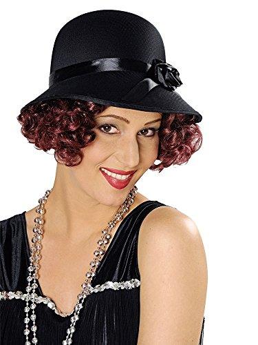 Körner Festartikel Charleston Hut für Damen - Schwarz - Zum 20er 30er Jahre Kostüm