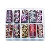 10 unidades holográficas para uñas, diseño de leopardo