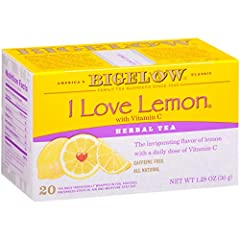 CITRUS DELIGHT: I Love Lemon Herbal Tea is an all-natural lemony tea. Caffeine free & the added hibiscus gives it a fruity tart aroma & flavor you can enjoy anytime. Enjoy as a hot tea or iced tea. INDIVIDUALLY WRAPPED: Bigelow tea always come indivi...