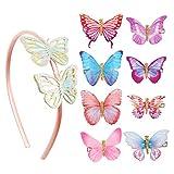 Diadema con Mariposas AirSMall 9PCS Diademas de Lazo con Purpurina Conjunto de 8 Pinzas para Cabello para Niñas con 1 Diadema de Mariposa en 3D Pinzas para Damas Novia Cumpleaños Carnaval Boda