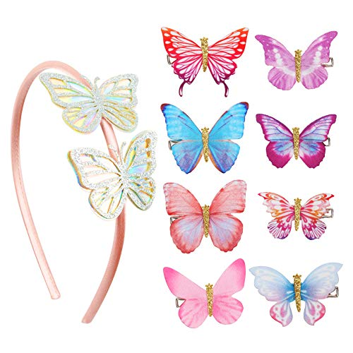 AirSMall 9tlg Schmetterling Haarschmuck Set 8 Mädchen Haarspange mit 1 3D Schmetterling Haarreife Bunt Haarklammern Kinder Haar Spange Clips Kopfschmuck für Damen Braut Geburtstag Karneval Hochzeit