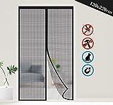 ilauke Magnétique Moustiquaire 120cm*220cm Porte Rideau Anti Mouche Bande Adhésive, Moustiquaire sur Mesure de Porte pour Couloirs, Portes, Patio.Facile à installer le joint d'étanchéité