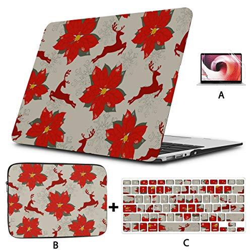 Funda para portátil de 15 Pulgadas Christmas Deer Flower 2018 Macbook Air Estuche rígido para Mac Air 11'/ 13' Pro 13'/ 15' / 16'con Funda para portátil para Macbook 2008-2020 V