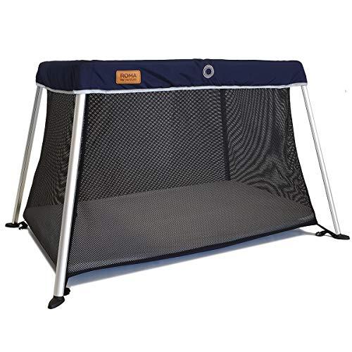 Le lit bébé de voyage Venture Roma comprend un matelas en mousse et un sac de transport de 100 x 60 cm (Bleu))