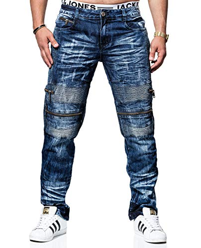 Kosmo Lupo Jeans KM131 Regular Fit Washed Style Club Wear (W40/L34)