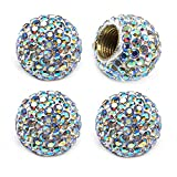 MECHCOS Car Wheel Tire Valve Caps, 4 Pack Crystal Rhinestone Car Tire Wheel Valve Stem Air Caps for Car Tire Accessories Universal for Cars, SUVs, Bicycle, Trucks and Motorcycles - AB Color
