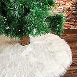 Deggodech Weiß Plüsch Weihnachtsbaum Rock 2018 Neu 157cm Luxus Weihnachtsbaumdecke Groß Weißer Weihnachtsbaum Röcke für Weihnachten Baum Rock Deko Weiß Weihnachtsdekoration (62zoll/157cm)