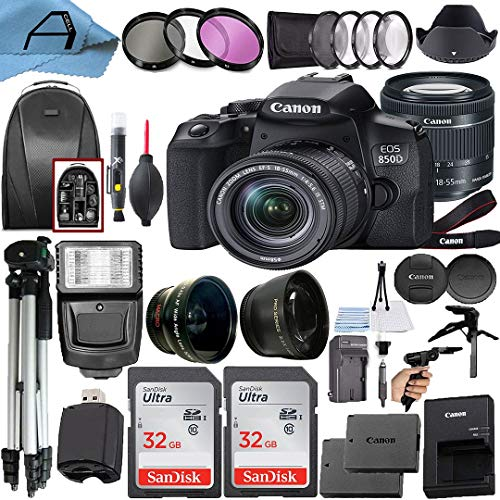 Canon EOS 850D / Rebel T8i Digital SLR Camera 24.1MP Sensor with EF-S 18-55mm f/4-5.6 is STM Lens, 2 Pack SanDisk 32GB Memory Card, Backpack and A-Cell Accessory Bundle (Black)