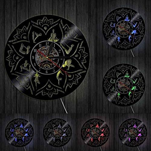 KDBWYC Semilla de la Vida Lotus Reloj de Pared 3D Adorno Zen Meditación Relajación Yoga Enfoque Disco de Vinilo Reloj de Pared Diseño Moderno Decoración de Pared con LED