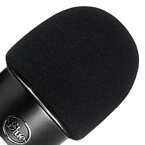 ienza Windscreen for Blue Yeti Foam - Also Fits Other Large Microphones Such as MXL, Audio Technica and More - Quality Sponge Material to Act as a Pop Filter for Your Mic (Black)