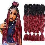 Two Tone Ombre Jumbo Braid Hair Extension 24'' 5Pcs/Lot 100g/pc Kanekalon Fiber for Twist Braiding Hair (Black-Burgundy)