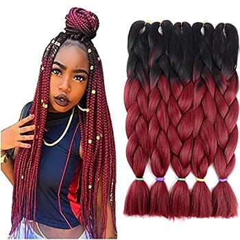 Two Tone Ombre Jumbo Braid Hair Extension 24   5Pcs/Lot 100g/pc Kanekalon Fiber for Twist Braiding Hair  Black-Burgundy
