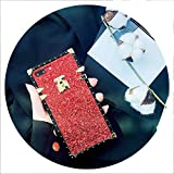 Luxury Square Rivet Bling Shiny Glitter Phone Case for iPhone Xs Max XR X 8 7 6S Plus Samsung Galaxy Note 9 8 S10 9 8 Plus S10E,Red,for iPhone 6 6S