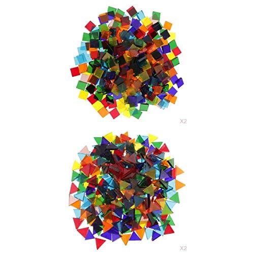 Fenteer 640g Colorido Triángulo Cuadrado Mosaico de Vidrio Vítreo Tejas Tessera