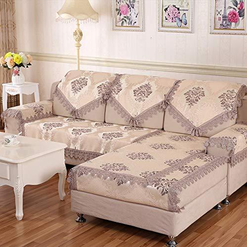 Coussin de canapé Antidérapant Serviette de canapé Housse de canapé Tissus Dentelle Coussin Native-E 90x180cm (35x71inch)