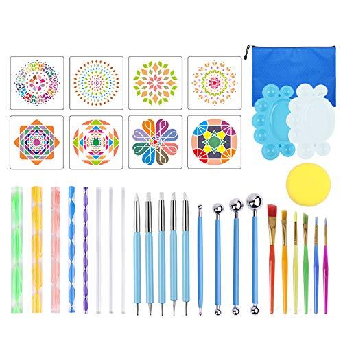 EBINLARGO Juego de herramientas de punteo de mandala, esténcil para pintura de mandala, para pintar rocas, arcilla, manualidades de arte para colorear y redactar suministros de arte