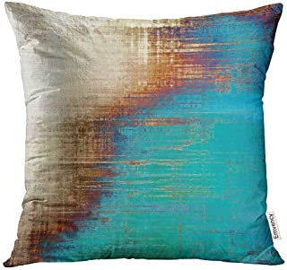 Emvency Throw Pillow Covers Decorative (Beige) Abstract Retro Old Fashioned Patterns Yellow Beige Brown Green Blue White 18x18 Inch Cushion Pillowcase Sofa Square Print
