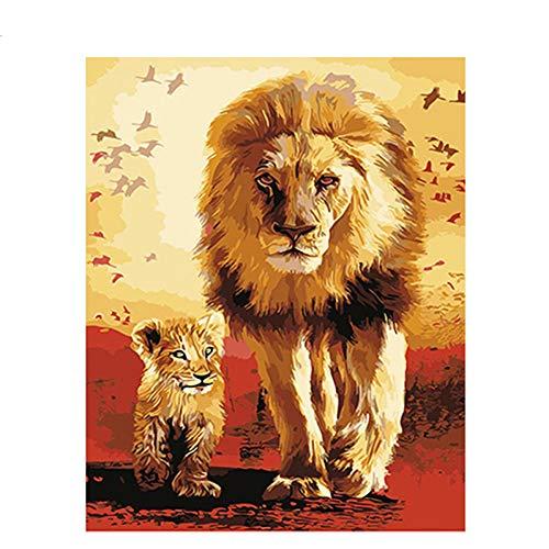 GKJRKGVF Schilderij Leeuwen Gezinslijk DIY Schilderen Door Getallen Unieke Gift Muur Kunst Canvas Schilderij Huisdecoratie 40x50cm