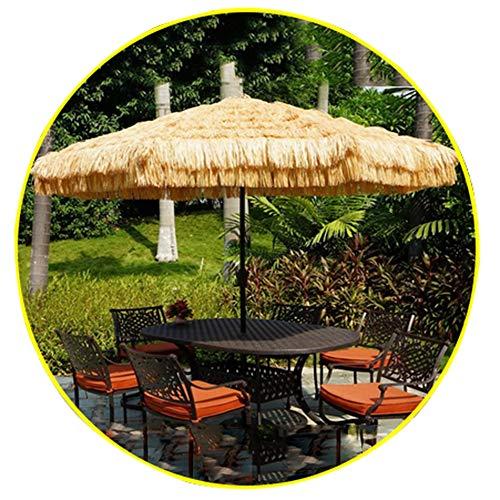 Parasol Hawaiian 2.7m Ø 38mm Ombrellone da Spiaggia Paglia Finta Paglia manovella 8 nervature per Giardino/Cortile/comunità/Piscine Colore Naturale CMXZ