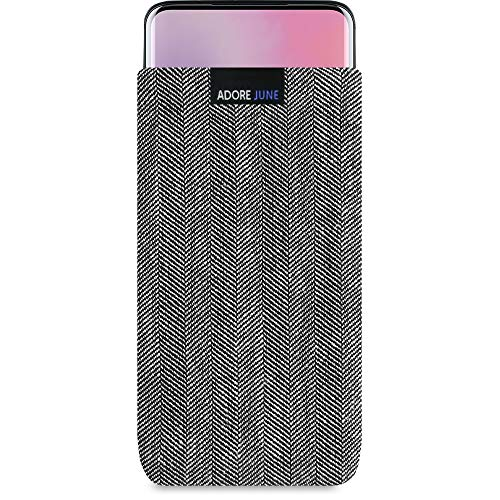 Adore June Business Tasche kompatibel mit OnePlus 7 Pro & OnePlus 7T Pro Handytasche aus charakteristischem Fischgrat Stoff - Grau/Schwarz, Schutztasche Zubehör mit Bildschirm Reinigungs-Effekt