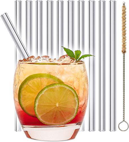 stråwline EINFÜHRUNGSANGEBOT Glas-Strohhalme 15 cm, wiederverwertbar + Reinigungsbürste (vegan) aus Agave - ideal für Cocktails, Longdrinks & Säfte (20 x 15 cm   gerade)