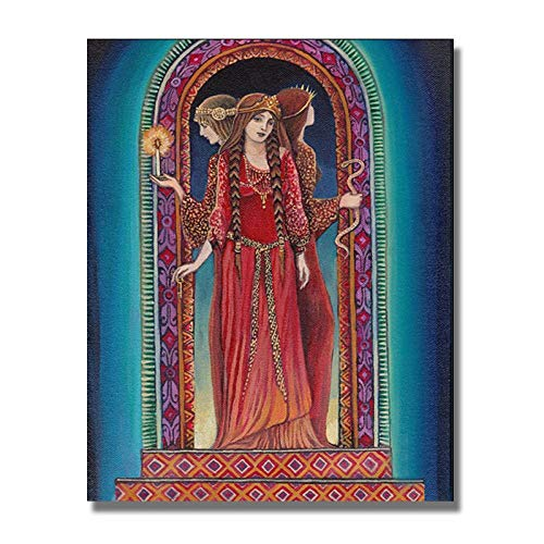 wZUN Póster de Pintura de Diosa, Grabado, Imagen artística de Pared, mitología, decoración de Sala de Estar Gitana psicodélica 60X90cm Sin Marco