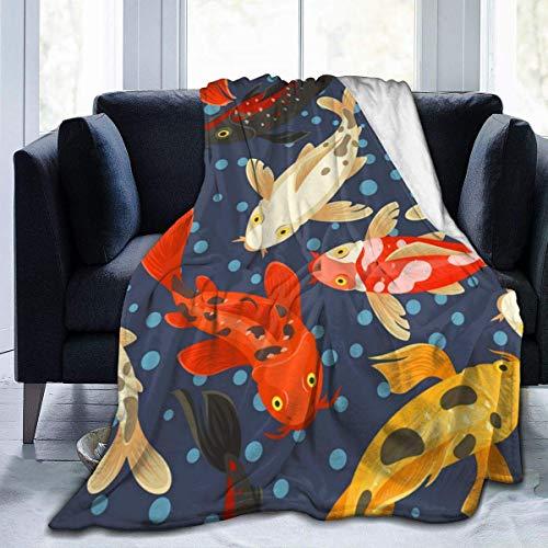 XCNGG Manta de Franela con diseño Tradicional de Estilo japonés con patrón de Carpa Koi, Manta Suave para sofá, Apto para Todas Las Estaciones