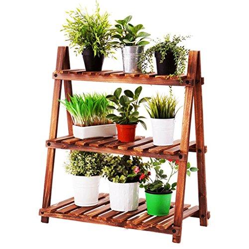 Support à fleurs - Étagère en bois massif, Étagère anti-corrosion pour salon, Balcon Trapézoïdale Trois Petit support à fleurs Bonsaï, Support pour plantes carbonisées