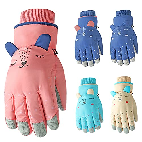Ski Gloves Children Playing Snow Indoor and Outdoor Winter Warm, Waterproof, Breathable and Cold-Proof Gloves for Boys and Girls Cute Cartoon (Red)