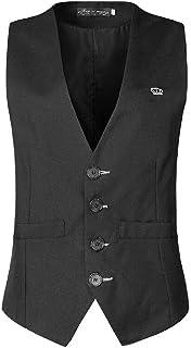 MU2M Men Business Slim Single Breasted V-Neck Suit Vests Waistcoat