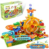 COUOMOXA Marble Run Building Blocks Compatible Classic Big Blocks STEM Toy DIY Build&Play Various Track Models Building Set Luxury Kids Gift for Boys Girl Age 5+ (waterwheel Piano Roller Coaster )