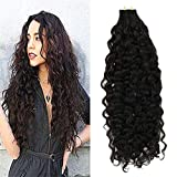 LaaVoo 20 inch 50gram 20 Pcs Per Package Natural Black Color Tape in Human Hair Extensions Natural Wavy Hair Extensions Skin Weft Professional Tape Hair Extensions For Women