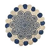 CAPRILO. Alfombra Decorativa Redonda de Yute Azul-Blanco Roto. Decoración del Hogar. Regalos Originales. Textil. 1 x 90 x 90 cm.