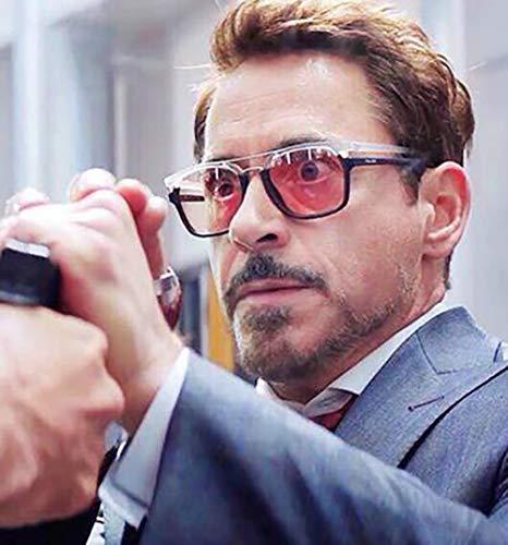 SHEEN KELLY Polarisierte Neymar Sonnenbrille für Männer Frauen Retro Sonnenbrille Tony Stark Sonnenbrille Iron Man + rot getönte Linse
