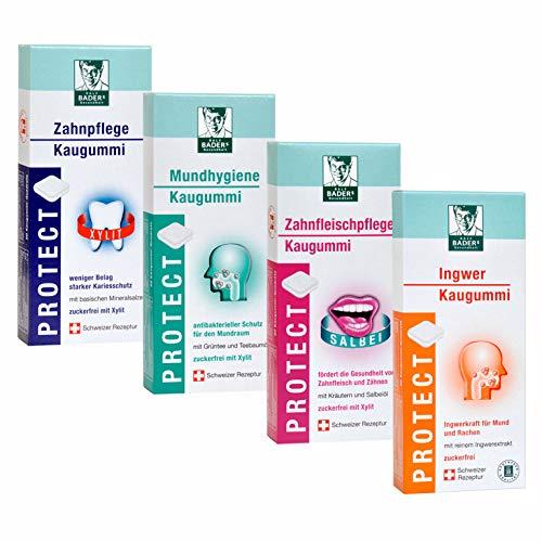BADERs PROTECT Funktions-Kaugummi aus der Apotheke. Mundhygiene, Zahnpflege, Zahnfleischpflege, Ingwer. 4 x 20 Kaugummi-Quadrate.
