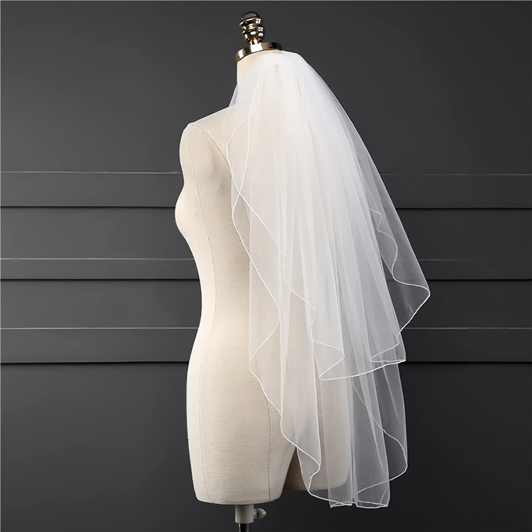Haraty 2 Tier Bridal Veils Church Wedding Tulle Elbow Fingertip Length Veil Bride Hair Accessories with Comb for Women and Girls (Ivory)
