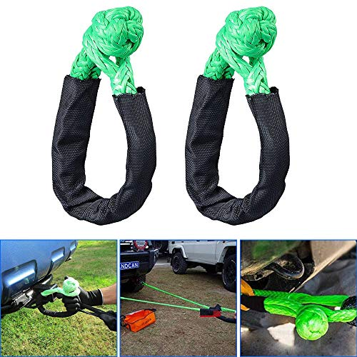 Blue Shackle Recovery Rope with Protective Sleeve for ATV Truck Towing SUV 4X4 Blue, 2 Pack Keeboot Synthetic Soft Shackle Blue Rope 1//2 Inch X 22 Inch 38,000lbs Breaking Strength
