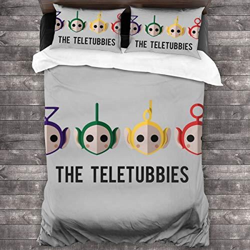 KUKHKU The Teletubbies Juego de ropa de cama de 3 piezas, funda de edredón de 86 x 70 pulgadas, tamaño Queen decorativo de 3 piezas con 2 fundas de almohada