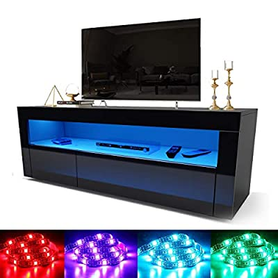 """ELEGANT Modern High gloss TV Stand Cabinet with LED Light for 22""""-65"""" Flat Screen 4k TVs/Living Room Bedroom Furniture Television Unit TV Cabinet with Shelves and Drawers for Media Storage,Black"""