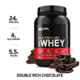 Optimum Nutrition Gold Standard Whey Protein Powder Muscle Building Supplements with Glutamine and Amino Acids, Double Rich Chocolate, 29 Servings, 900 g