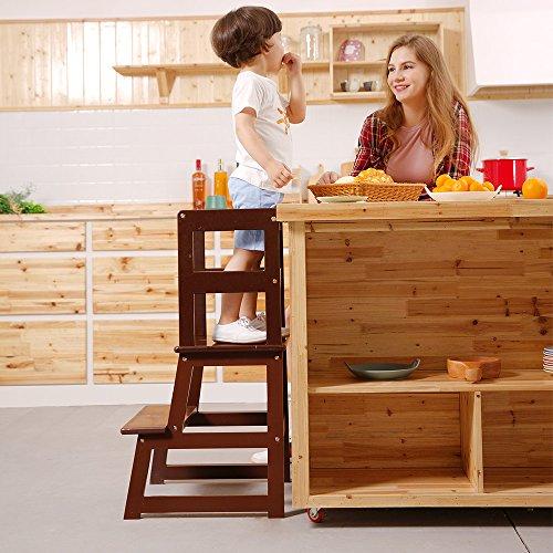 UNICOO - Taburete de Aprendizaje para niños, Taburete de Cocina, Taburete para niños con Barra de Seguridad, construcción de Madera Dura niños pequeños
