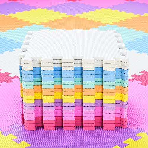 qqpp Alfombra Puzzle para Niños Bebe Infantil - Suelo de Goma EVA Suave. 20 Piezas (30 * 30 * 1.0cm), Blanco, Naranja, Rosa, Amarillo, Azul, Verde, Rojo, Morado. QQC-ABCEGHIKb20N