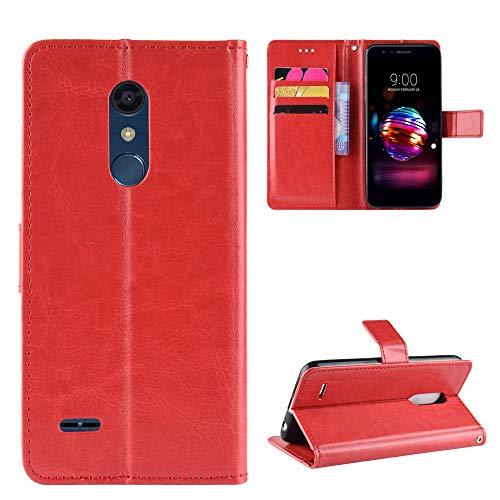 Funda de piel tipo cartera para LG K30/Premier Pro/Harmony 2/Xpression Plus con función de soporte a prueba de golpes, tapa para LG K10 2018 - COBYU030720 Rojo