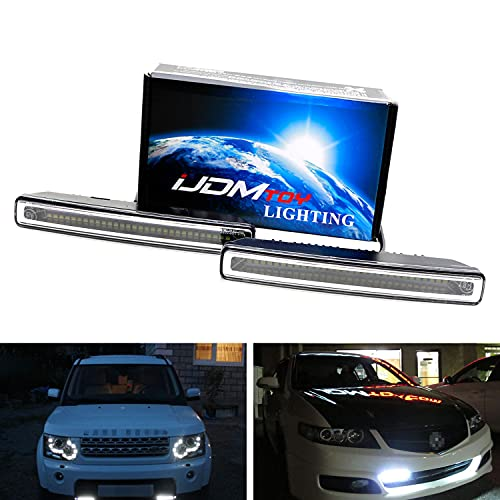 iJDMTOY 7-Inch Universal Fit Xenon White High Power 30-SMD LED Daytime Running Light Bar (DRL Lamps) w/Wiring Harness