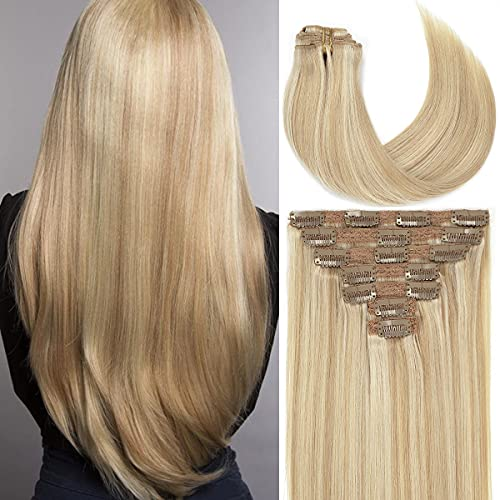 Caliee 120g Clip in Hair Extensions Human Hair for Women Double Weft...
