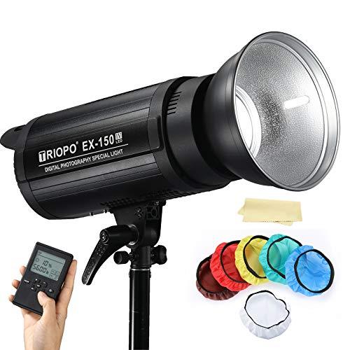 TRIOPO EX-150IV 5600K 150W Lampada da studio LED ad alta potenza con attacco Bowens compatibile per Canon, Nikon, Pentax, Panasonic, Sony, fotocamere reflex digitali Olympus, telecomando senza fili
