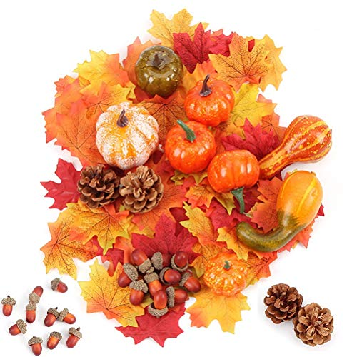 nuoshen 50 Pcs Thanksgiving Halloween Mini Artificial Pumpkins and Gourds Maple Leaves Pine Cones and Acorns Fall Harvest Table Decor Set for Thanksgiving Wedding Home Table Decoration